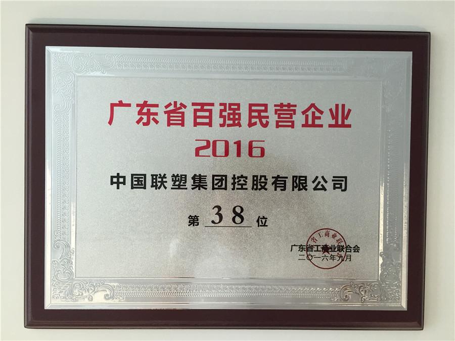 2016广东省百强民营企业第38位